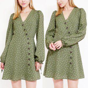Olive Sage Green Faux Wrap Asymmetric Button Dress